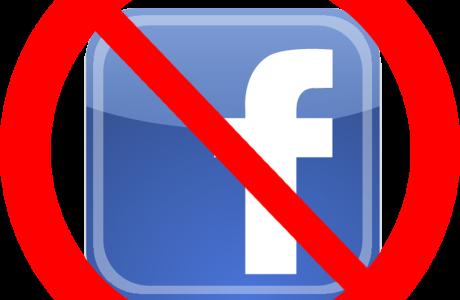 The Facebook logo with a circle & slash through it