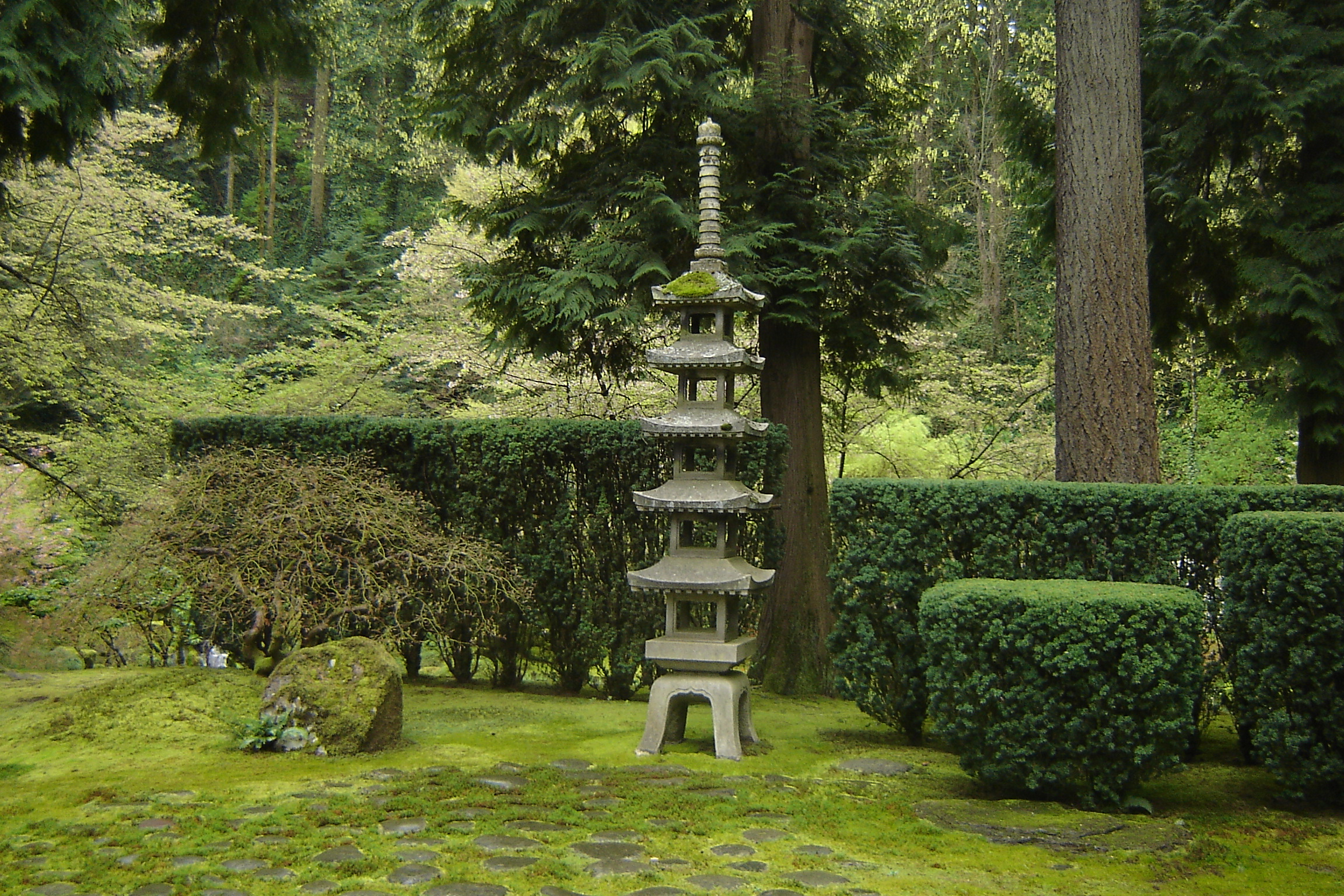Color photo of a tall Japanese pagoda
