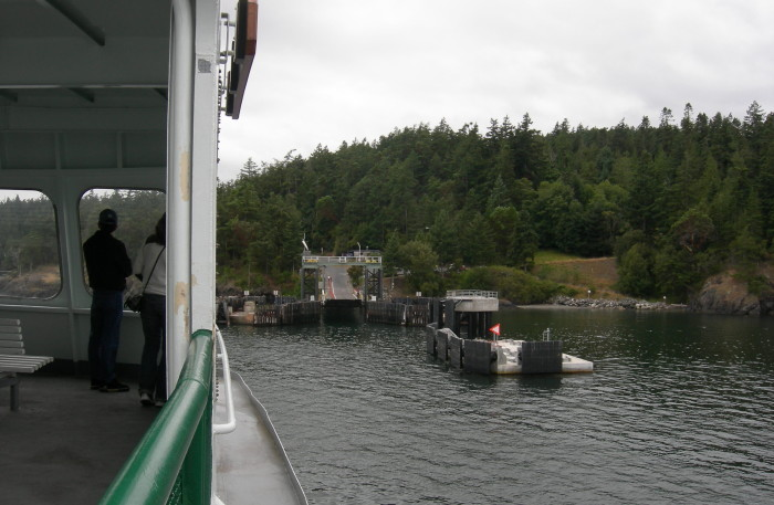 photo taken from a ferry as it approaches Lopez Island, Washington