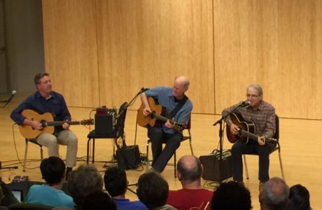 (left to right) Clive Carroll, Mark Hanson, and Happy Traum at the 2016 Accent on Music concert