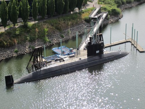 photo of the submarine USS Blueback docked in Portland, Oregon