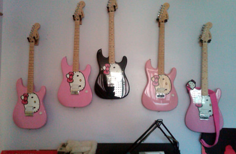 a collection of Hello Kity guitars