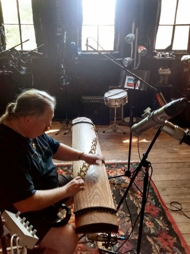 photo of Jim playing koto in the recording studio