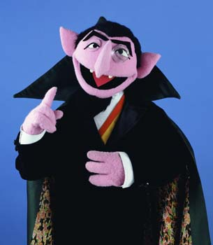 A picture of the muppet character Count von Count